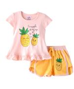 Smart Baby Baby Girls T-Shirt With Hot Pant Set,Peach/Yellow-SNGSS2137516