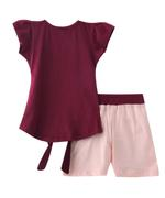 Genius Girls T-shirt With Shorts Set , Maroon/Peach - SNGSS2137394
