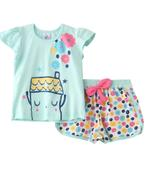 Smart Baby Baby Girls T-Shirt With Hot Pant Set, Sea Green/Multi -SNGSS2137533