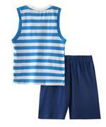 Genius Boys Striped T-shirt With Short Set , Sky Blue/Navy - SNGSS2136856