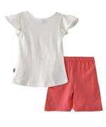 Genius Girls T-Shirt With Shorts Set,Off White/Dark Peach - SNGSS2137400