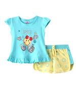 Smart Baby Baby Girls T-Shirt With Hot Pant Set,Sea Green/Lemon Yellow-SNGSS2137529