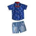 Little Kangaroos Baby Boys H/S AOP Shirt With Denim Shorts,Blue-ROGS2019303B