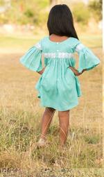 Flower Girl Girls Summer Stylish Top With Shorts Set ,Sea Green/White, SIMGS2019C39