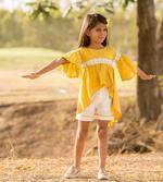 Flower Girl Girls Summer Stylish Top With Shorts Set ,Mustard Yellow/White, SIMGS2019C49