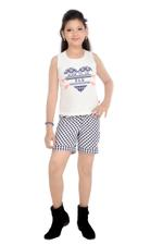 Flower Girl Girls Knit Top With Woven Shorts Set, White/Blue-MCG780
