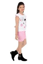 Flower Girl Girls Knit Top With Woven Shorts Set, White/Pink-MCG785