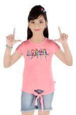 Flower Girl Girls Knit Top With Denim Blue Shorts Set, Pink/Denim-MCG760