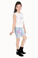 Flower Girl Girls Knit Top With Denim Shorts Set, White/Denim Blue-MCG759