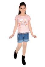 Flower Girl Girls Knit Top With Denim Shorts Set, Pink/Denim Blue-MCG757