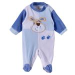 Smart Baby Baby Boys Sleepsuit With Feet,White/Blue-TIGB1461VB