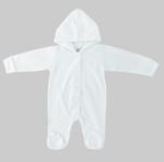 Smart Baby Baby Unisex Hooded Sleepsuit , White - NCGSS21SBW012
