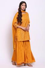 Biba Women Art Silk Garara Suit Set, Ochre Yellow,BG6814OCR38