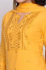 Biba Women Cotton Straight Suit Set,Mustard,BG6618MST36