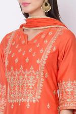 Biba Cotton Silk Flared Suit Set , Orange,BG6180ORG