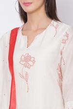 Biba Cotton Silk Straight Suit Set, Off White, BG6365OWHT