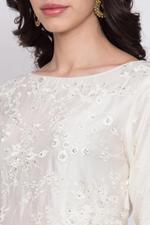 Biba Cotton Silk Anarkali Suit Set , Off White,BG6369OWHT