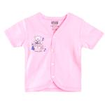 Smart Baby Baby Girls Short Sleeves Button Closure Plain T-shirts, Pink-SIMG48001HTS