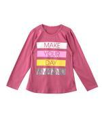 Nexgen Girls Girl Full Sleeve T-shirt , Dark Pink - SNGAW2036718