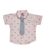 Little Kangaroos Baby Boy Shirt With Necktie , Peach - ROGS2019322C