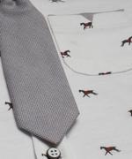 Little Kangaroos Baby Boy Shirt With Necktie , White - ROGS2019322B