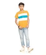 Nexgen Juniors Boys Polo T-Shirt , Mustard/Multi - VCGSS20015MSD