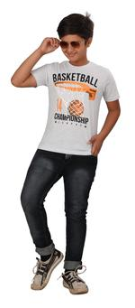 Genius Boys Printed T-shirt,Ecru Melange SIMGS20GTC025