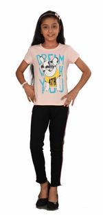 Genius Girls Printed T-shirt,Peach SIMGS20GEC029