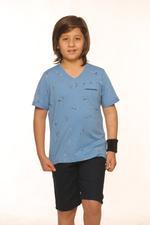 Nexgen Juniors Boys V Neck T-Shirt , Sky Melange- SSG17166