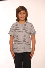 Nexgen Juniors Boys V Neck T-Shirt , Melange- SSG17167